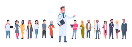 Medical Doctor Over Group Of Patients On White Background Horizontal Banner Flat  Illustration