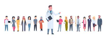 Arzt über Gruppe von Patienten auf weißem Hintergrund horizontale Banner flache Illustration