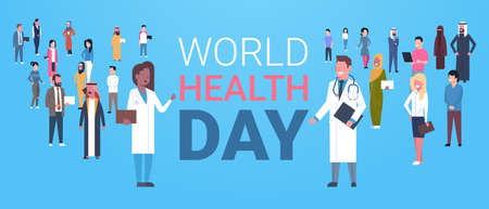 World health day poster with male and female doctors over group of patients healthy holiday banner flat vector illustration.