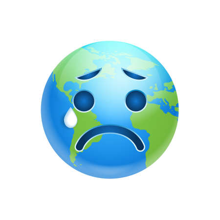 Cartoon Earth Face Crying Emotion Icon Funny Planet Depressed Expression Isolated Flat Vector Illustration