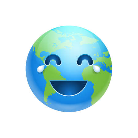 Cartoon earth laughing face icon. Ilustração