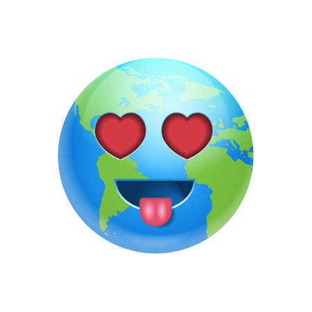 Cartoon Earth Face Lovely Heart Shaped Eyes Icon Funny Planet Emotion Flat Vector Illustration