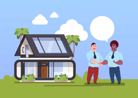 Buying House Concept Agent And New Owner Shaking Hands Over Home Exterior Flat Vector Illustration