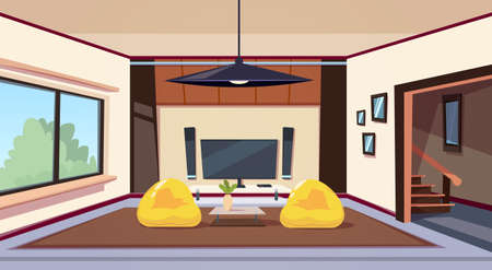 Modern Living Room Interior With Bean Bag Chairs And And Big Led Televison Set On Wall Home Cinema Flat Vector Illustration