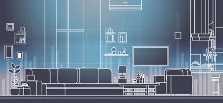 interior de la sala de estar virtual con sofá y televisor conjunto de tv en la ilustración de vector de línea de tecnología de pantalla virtual vr Ilustración de vector