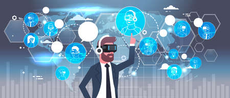Businessman In 3d Glasses Using Futuristic Interface With Network Connections Over World Map Background Virtual Reality Technology Concept Flat Vector Illustration