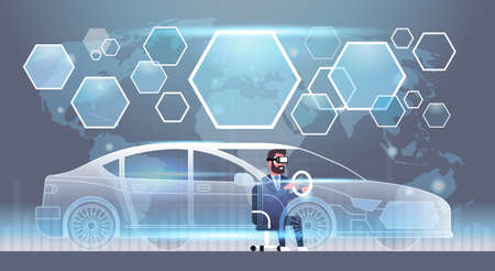Business Man In Vr Headset Driving Virtual Car Innovation Visual Technology Reality Glasses Concept Flat Vector Illustration Illustration