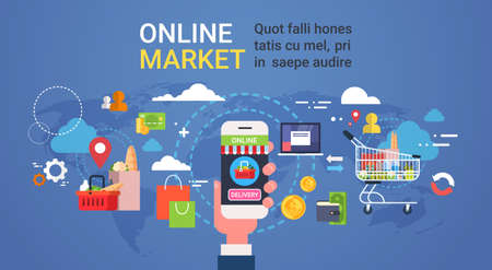 mercado de la mano del mercado que sostiene el teléfono inteligente compras de comestibles productos de comestibles y el concepto de entrega de alimentos ilustración vectorial plana