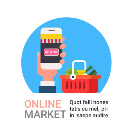 Online Market Icon Hand Holding Smart Phone Buying Grocery Products Shopping And Food Delivery Concept Flat Vector Illustration Stock Illustratie
