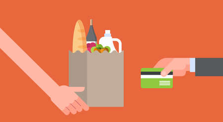 Hand Paying For Paper Bag Full Of Grocery Products With Credit Card, Online Food Order And Delivery Service Concept Flat Vector Illustration