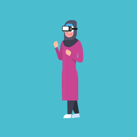 Muslim Woman Wearing Modern Vr Headset Virtual Reality Glasses Technology Concept Flat Vector Illustration Ilustrace