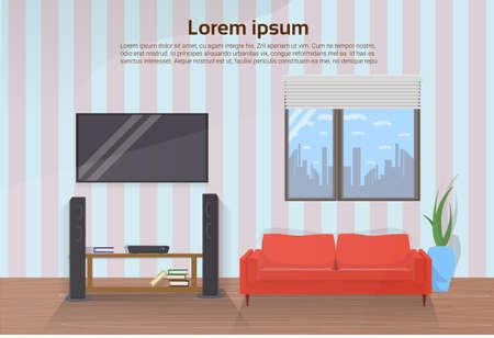 Interior de la moderna sala de estar con sofá rojo y gran televisor LED en la ilustración de Vector de pared
