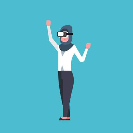 Arab Business Woman Wearing Modern 3d Glasses Virtual Reality Headset Concept Flat Vector Illustration