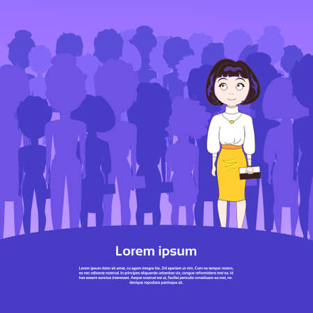 Cute Young Woman Standing Over Silhouette People Group With Copy Space Background Flat Vector Illustration
