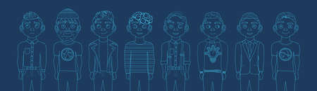 Group Of Male Silhouettes Outlines On Blue Backgroud With Copy Space Thin Line Horizontal Banner Vector Illustration