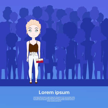 Beautiful Girl Standing Out Of Crowd Over Silhouette People Group With Copy Space Background Flat Vector Illustration Illustration