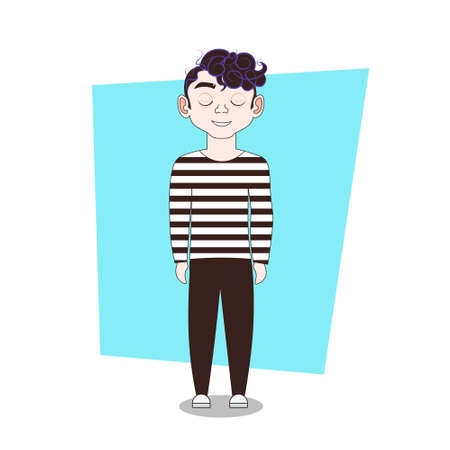 Young Guy In Casual Clothes Full Length Man Hipster Flat Vector Illustration