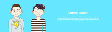 Two Young Men In Casual Clothes On Blue Backgroud With Copy Space Horizontal Banner Flat Vector Illustration