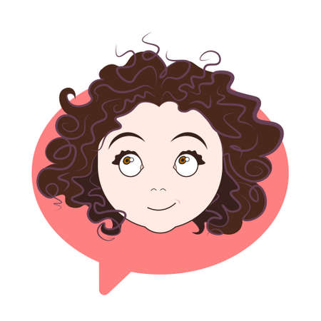 Cute Curly Girl Face Icon Over Chat Bubble Background Woman Profile Avatar Isolated Vector Illustration