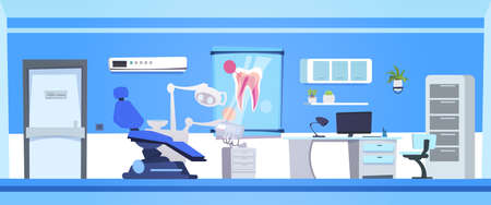 Dental Office Interior Empty Dentist Hospital Or Clinic Room Flat Vector Illustration Vettoriali