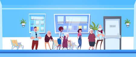 Grupo de pacientes de pie en línea con la oficina de médicos en el moderno hospital o clínica ilustración vectorial plana