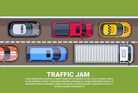 Traffic Jam On Highway Top View With Road Full Of Different Cars Flat Vector Illustration