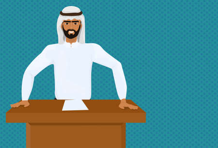 Arab Business Man Or Politician Leading Speech On Conference Or Meeting Presentation Standing At Tribune Flat Vector Illustration