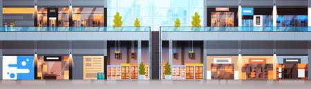 Großes Einkaufszentrum Innen horizontales Banner Modernes Einzelhandelsgeschäft ohne Menschen flache Vektor-Illustration