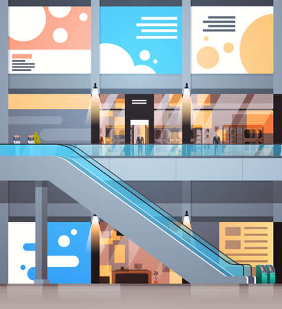 Modern Shopping Center Interior Big Retail Store With No People Flat Vector Illustration