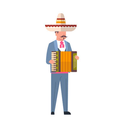 Mexican Man Musician In Traditional Clothes And Mexico Sombrero Isolated On White Background Flat Vector Illustration