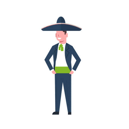 Mexican Man Dancer In Traditional Clothes And Sombrero Isolated On White Background Flat Vector Illustration Illustration