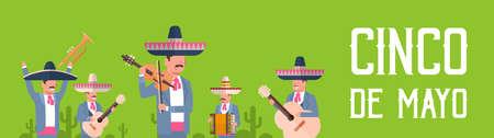 ソンブレロとマラカスシンコデマヨフェスティバルポスターデザインフラットベクトルイラストと伝統的な服を着たメキシコのミュージシャンのグループ