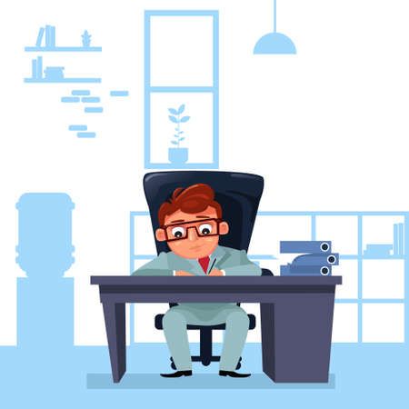 Business Man Boss Sit At Office Desk Working With Documents Flat Vector Illustration  イラスト・ベクター素材