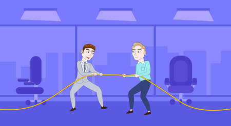 Two Successful Business Man Pulling Rope Competition Concept Flat Vector Illustration