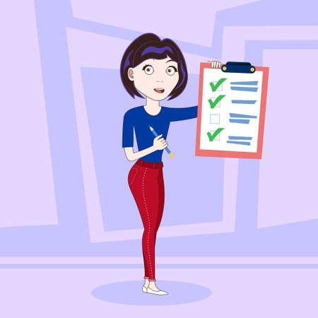 Erfolgreiche Geschäftsfrau, die fertige Checkliste flache Vektor-Illustration hält Vektorgrafik