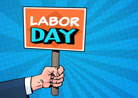 Labor Day Comic Poster Over Pop Art Background 1 May Holiday Greeting Card Design Flat Vector Illustration