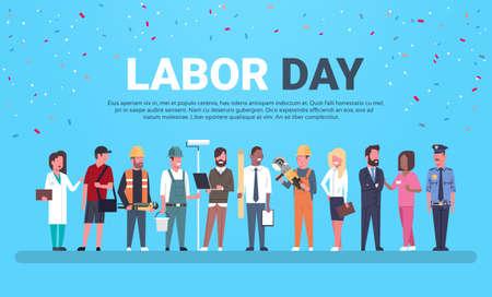 Manifesto di festa del lavoro con la gente delle occupazioni differenti sopra fondo con l'illustrazione piana di vettore dello spazio della copia