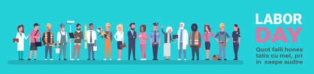 Labor Day Poster With People Of Different Occupations Over Background With Copy Space Horizontal Banner Flat Vector Illustration Illustration