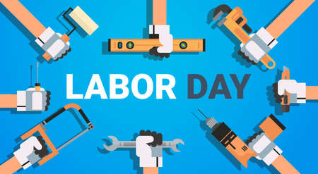 Labor Day Poster With Instruments Background Workers Holiday Banner Design Flat Vector Illustration Vettoriali