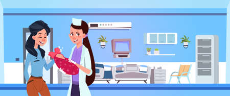 Female Medical Doctor Give Newborn To Happy Mother In Hospital Ward Flat Vector Illustration