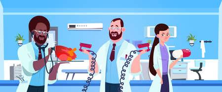 Team Of Medical Doctors Holding Equipment For Cardiac Resuscitation Over Hospital Ward Background Vector Illustration