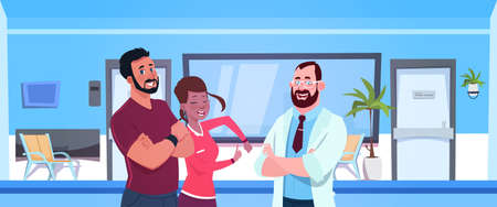 Doctor Talking With Happy Couple Of Patients Over Hospital Waiting Room With Empty Seats Background Flat Vector Illustration Illustration