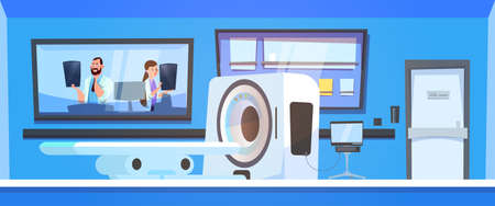 Team Of Doctors Examine Results Of Mri Scanning Over Machine Scanner Background Flat Vector Illustration