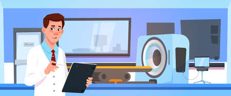 Doctor Examine Results Of Mri Scanning Over Machine Scanner Background Flat Vector Illustration Vectores
