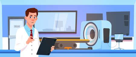 Doctor Examine Results Of Mri Scanning Over Machine Scanner Background Flat Vector Illustration Illustration