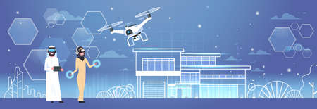 Arab Man And Woman Wearing 3d Glasses With Drone Over Smart House Background Virtual Reality Concept Flat Vector Illustration  イラスト・ベクター素材