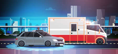 Car Accident Scene Of Road Crush With Ambulance Over City Background Vector Illustration