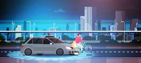 Car Hit Man On Bike On Road Over City Background Crash Accident Vector Illustration 写真素材