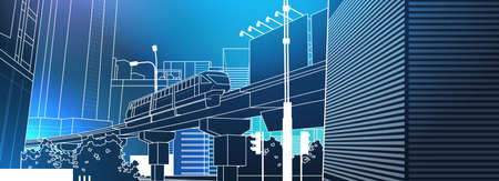 Modern City View With Railway Bridge Over Blue Background Thin Line Horizontal Banner Vector Illustration