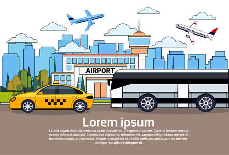 Road Traffic With Bus And Taxi Car Over Airport Buildings And Airplanes In Sky Flat Vector Illustration